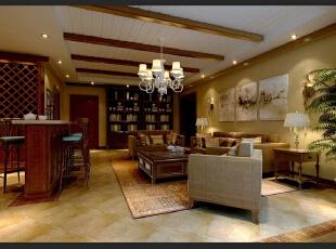 ,280平,80万,别墅,美式,客厅,黄色,