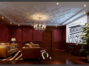 ,280平,80万,别墅,美式,影音室,红色,