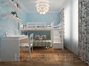 建业贰号城邦140平装修案例效果图——儿童房,140平,10万,欧式,四居,卧室,蓝色,