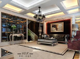 ,160平,40万,大户型,欧式,客厅,黑白,