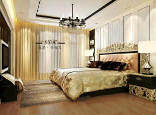 ,280平,80万,别墅,欧式,卧室,黄色,