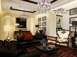 ,280平,80万,别墅,欧式,客厅,黑白,黄色,