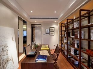 ,简约,四居,书房,现代,书房,原木色,白色,