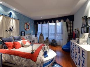 ,简约,四居,儿童房,现代,卧室,蓝色,