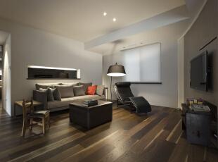 北京别墅装修设计—客厅 客厅主色调以灰色为主,简单,打上暖色的灯光,深色的木地板,柔和舒适,140平,28万,现代,三居,客厅,黑白,黄色,红色,