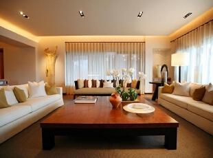 客厅:简单时尚又不失稳重,是整个家庭的代表,199平,20万,现代,三居,客厅,原木色,白色,