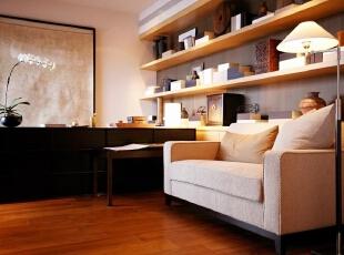 书房:给人以舒适柔软的感觉,让业主尽情的在书的世界里遨游,199平,20万,现代,三居,书房,黑白,