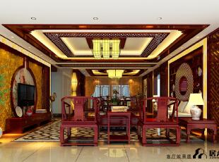 ,309平,600万,中式,大户型,客厅,原木色,黄色,