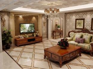 ,180平,8万,欧式,四居,客厅,原木色,黄色,