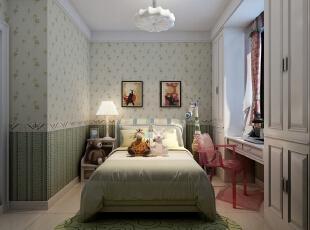 ,98平,4万,简约,三居,卧室,绿色,