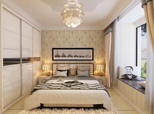 ,98平,4万,简约,三居,卧室,黄色,
