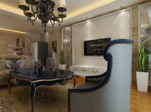 客厅装修效果图,108平,7万,三居,客厅,欧式,黄色,