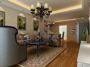 客厅装修效果图,108平,7万,三居,欧式,黄色,客厅,