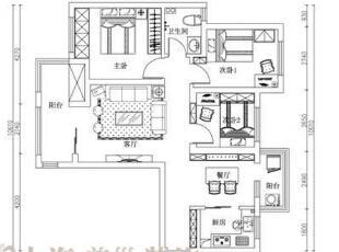 郑州天骄华庭89平3室2厅简美风格装修户型图,89平,7万,美式,三居,