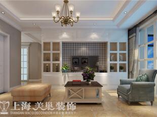 天骄华庭89平3室2厅简美风格装修样板间——电视背景墙装修效果图,89平,7万,美式,三居,客厅,白色,