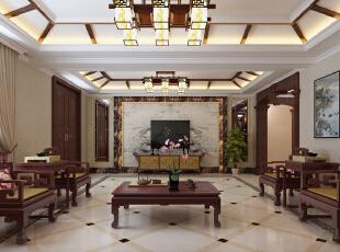 ,380平,20万,中式,别墅,客厅,原木色,