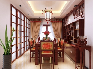 【南昌实创整体家装】新中式餐厅效果图,124平,14万,中式,三居,餐厅,新古典,原木色,白色,