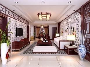 【南昌实创整体家装】新中式客厅效果图,124平,14万,中式,三居,新古典,客厅,原木色,白色,