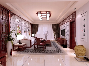 【南昌实创整体家装】新中式客厅效果图,124平,14万,中式,三居,客厅,新古典,原木色,白色,