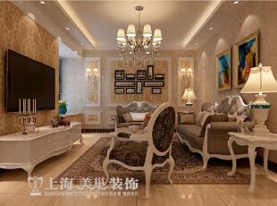 锦艺城装修案例效果图90平两室两厅简欧风格效果图,华丽铺垫,尽显奢华。,90平,8万,欧式,两居,客厅,黄色,