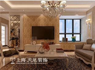 锦艺城90平两室两厅简欧风格装修案例效果图,电视背景墙的大面积墙纸,空间感的利用恰当其中。,90平,8万,欧式,两居,客厅,黄色,
