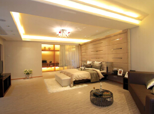 利用几格空闲的置物格作为书架,实用美观还具有空间装饰效果,392平,45万,现代,别墅,卧室,黄色,