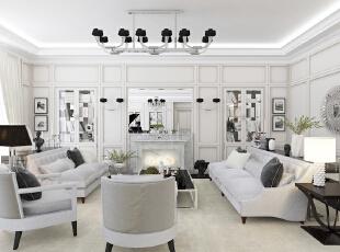 ,220平,96万,简约,三居,客厅,白色,