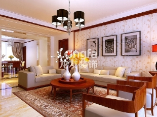 石家庄维多利亚199㎡户型中式风格装修效果图案例~,199平,9万,中式,四居,客厅,原木色,黄色,