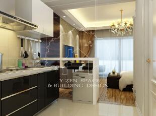 ,45平,3万,现代,一居,厨房,黑白,