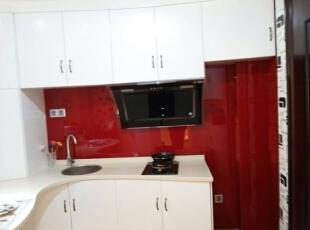 ,45平,3万,现代,公寓,厨房,红色,白色,