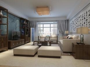 ,136平,5万,中式,三居,客厅,原木色,白色,蓝色,