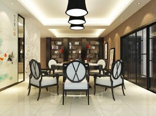 ,250平,60万,别墅,现代,餐厅,黑白,