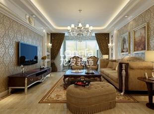 石家庄天下玉苑133㎡三室两厅户型欧式风格装修效果图,133平,5万,欧式,三居,客厅,黄色,