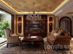 ,165平,6万,欧式,三居,客厅,原木色,黄色,