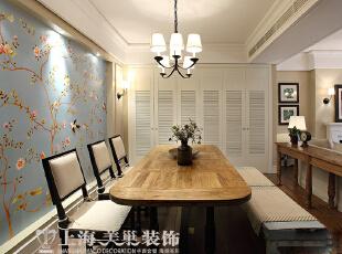 方圆经纬108平方三室两厅现代简约装修案例---餐厅装修效果图,108平,7万,现代,三居,餐厅,原木色,蓝色,