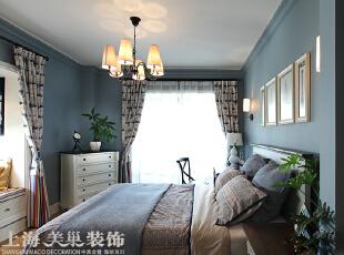 方圆经纬108平方三室两厅现代简约装修案例---卧室装修效果图,108平,7万,现代,三居,卧室,卧室,白色,蓝色,