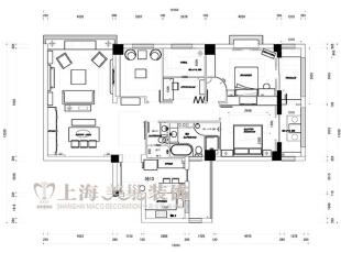 方圆经纬108平方三室两厅现代简约装修案例---平面布局图,108平,7万,现代,三居,