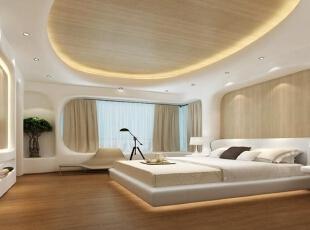 ,450平,50万,现代,别墅,卧室,别墅装饰,原木色,白色,