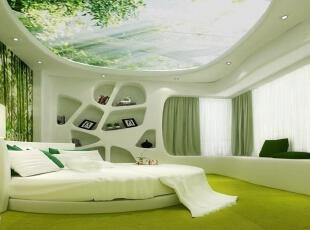 ,450平,50万,现代,别墅,卧室,儿童房,别墅设计,绿色,