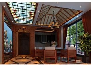 本设计定义为东南亚。将东南亚元素和现代感素材融为一体,使整个设计高雅,脱俗。整个空间以简洁的艺术造型和富有现代感的色彩构成,采用中**调,稳重,大气,却又不失品位。,390平,25万,混搭,别墅,餐厅,现代,中式,新古典,原木色,