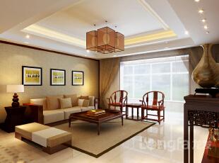 ,136平,4万,中式,三居,客厅,原木色,