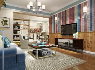 ,98平,20万,现代,三居,客厅,原木色,蓝色,