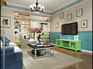,98平,20万,现代,三居,客厅,蓝色,白色,