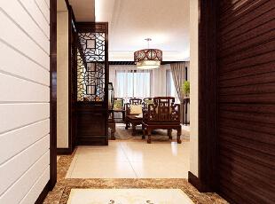 绿城百合180平4室2厅新中式装修案例——廊厅装修效果图,180平,50万,中式,四居,客厅,原木色,