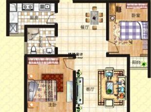 上东城91平方两室两厅新中式装修效果图 户型图,91平,6万,中式,两居,