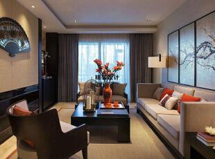 上东城91平方两室两厅新中式装修效果图 客厅,91平,6万,中式,两居,客厅,黄色,