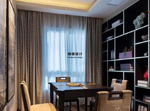 上东城91平方两室两厅新中式装修效果图 娱乐一角,91平,6万,中式,两居,书房,黑白,
