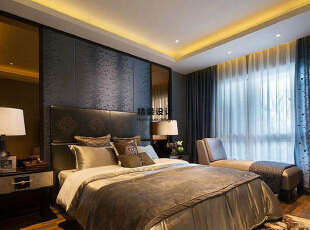 上东城91平方两室两厅新中式装修效果图 卧室,91平,6万,中式,两居,卧室,卧室,黑白,