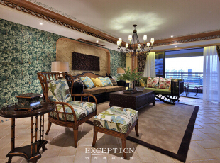 设计解读·客厅细节   来自Lexington Beach Home系列,浑圆精巧的藤制家具总是蕴含着无尽的细节力量,它能让家带上几分舒适懒散、静谧雅致的味道,细密的藤制纹路里缓缓流淌出来的浪漫情怀,亦能触动居者心底的感性地带。,370平,296万,混搭,四居,客厅,黄色,绿色,原木色,