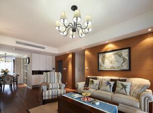 ,139平,15万,四居,美式,客厅,原木色,白色,